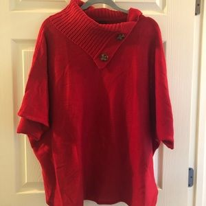 Very cute red poncho style sweater!